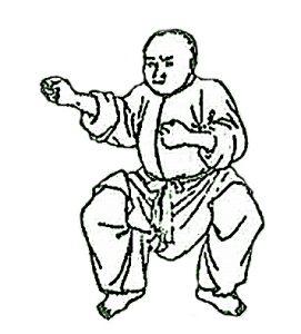 Privatpraxis Dr. med. A. Ghazi-Idrissi: Zeichnung Chinese beim Qigong in Abwehrhaltung