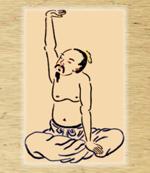 Service: Meditierender Chinese im Schneidersitz