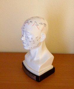 Akupunktur: Menschlicher Kopf mit Meridianen