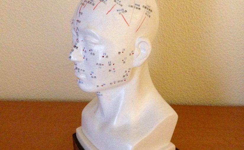 Akupunktur: Foto Skulptur Kopf mit sichtbaren Akupunkturpunkten