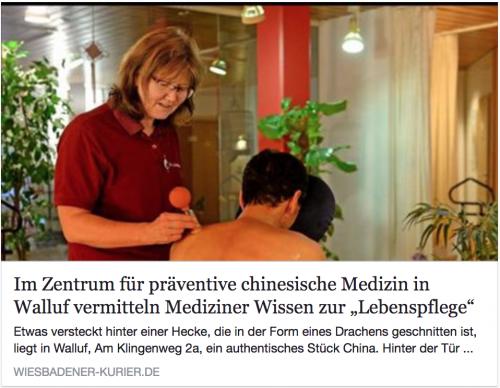 Gesundheitsprävention: Artikel des Wiesbadener Kurier mit Bild aus dem Zentrum für präventive chinesische Medizin e.V.