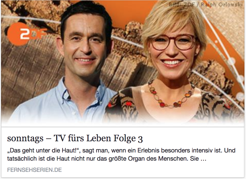 Schmerztherapie: ZDF-Sendung 'sonntags - TV fürs Leben'