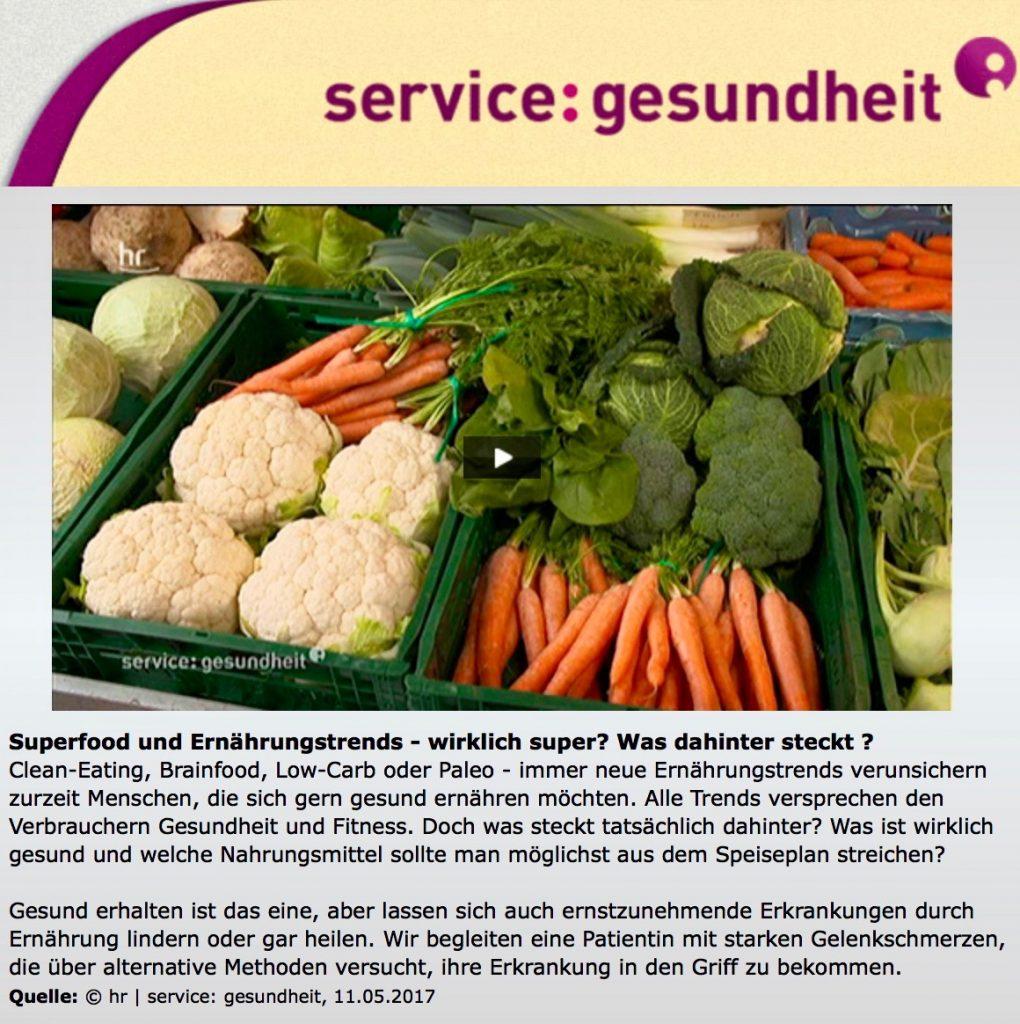 Gelenkschmerzen durch Ernährung lindern: Sendung 'service:gesundheit' des Hessischen Rundfunk